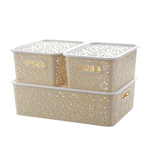 3 Stück Kommode (CJH Europäischen Stil Badezimmer Kosmetik Aufbewahrungsbox Desktop Haushalt Einfache Aufbewahrungsbox Kunststoff Covered Kommode Finishing Box 3 Stücke (Color : Beige))