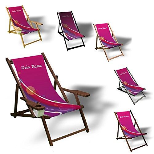 Wunschtext - Colourful Bubbles Pink - Liegestuhl bedruckt Balkon Garten Sonnenliege Relax Holz Terrasse | Variante:mit Armlehne, Natur