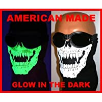 American Made Glow in the Dark Skull Vampire Fangs Face Ski Mask With VELCRObrand Adjustable Closure Reversible Motorcycle Rider Dust, Wind Neck Cover For Youth/Adult 17-25 Inch Head Circumference