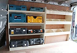 Lieferwagen-Regale aus leichtem Sperrholz, Fahrerseite vorn abgewinkelt & hinten, Aufbewahrungslösung für Werkzeuge