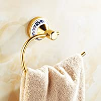 Comparador de precios AZHUCHANGJIANG Golden Retro Continental Bath Towel Ring Inicio Productos Tocador de Pared Toalla de Baño Anillo Toalla de Baño Estante Circular Toalla Anillo Rack Hardware Accesorio - precios baratos