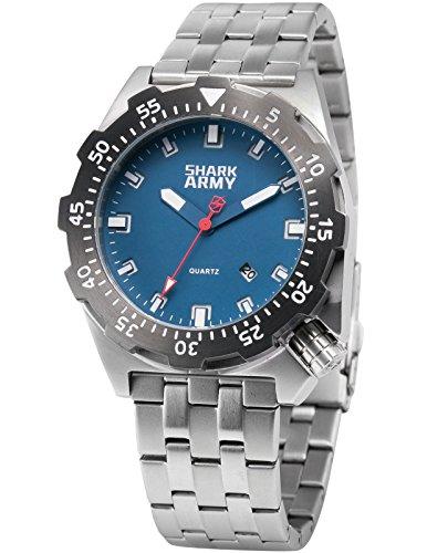 SHARK ARMY Herren Armbanduhr Wasserdicht Analog Quarz Edelstahl Armband Datum Anzeige mit Eisen Box SAW188