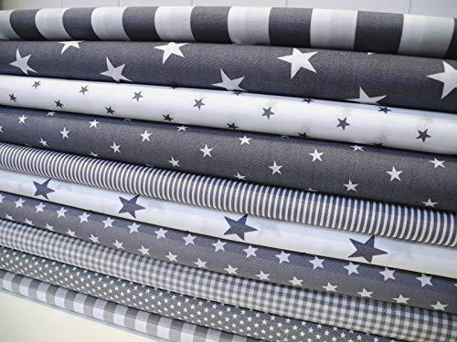 Lottashaus No5 10x Stoff Grau Stoffpaket Stoffe Patchwork Sterne Streifen Shabby chic