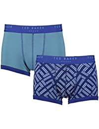 "Ted Baker London Teal Blue Plain & Blocks Mens Cotton Wanted Fitted Boxer Trunks 2 Pairs (Large (Size 4-36""-38"" Waist))"