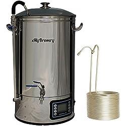 MyBrewery | Máquina compacta para elaborar cerveza artesana | 30 litros | Incluye chiller | Memoriza hasta 10 recetas | 9 escalones de temperatura programable