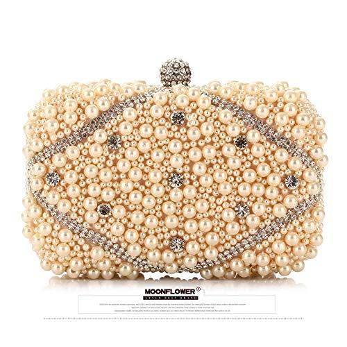 Damen-Clutches<br/>Zarte Perlen, Abendtasche, Perlen, Braut Hochzeit, Kleid, Clutch Bag,Champagner -