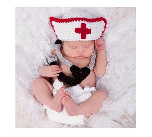 Baby Mädchen/Jungen häkeln stricken Kostüm Fotografie Prop Outfits (Arzt/Krankenschwester) (Häkeln Baby Kostüme)