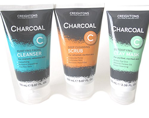 coeightons hergestellt in England anthrazit Deep Cleansing Scrub (150ml), Entgiftung Clay Maske (100ml) und Purifying Facial Cleanser (150ml) (Pore Cleanser Deep Clay)