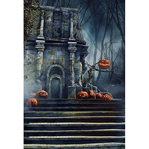 ntage Castle Hintergrund für die Fotografie Treppen Kürbis Gesichter Laterne Halloween Kinder Hintergründen Kinder Foto Hintergrund 5x 2,1 (Halloween-kürbis-gesichter, Fotos)