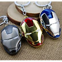 Top parte superior Super Hero Los Vengadores Iron Man máscara llavero de metal colgante llavero