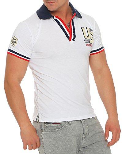Herren Poloshirt Polohemd Polo Shirt Kurzarm Baumwolle Gr. S - XL, 1601 Weiß