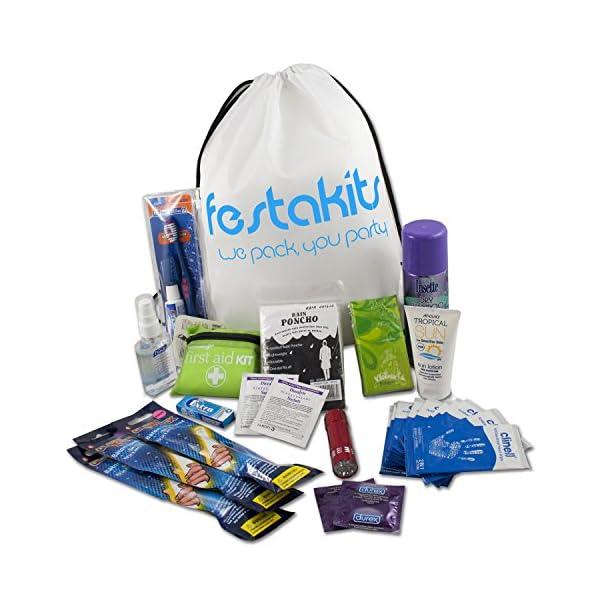 Festakits Essentials - 60 Piece Festival Kit, Camping Survival Kit - All Your Festival Essentials