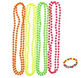 Zac's Set of 4 Fluorescent Neon Plastic Colour Bead Necklaces with Neon Bracelet
