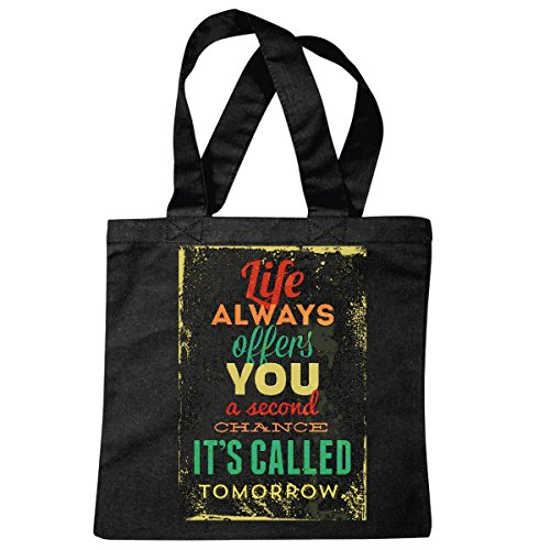 sac à bandoulière VIE VOUS PROPOSE TOUJOURS UNE SECONDE CHANCE Il a appelé DEMAIN LIFESTYLE FASHION STREETWEAR HIPHOP SALSA LEGENDARY Sac école Turnbeutel en noir
