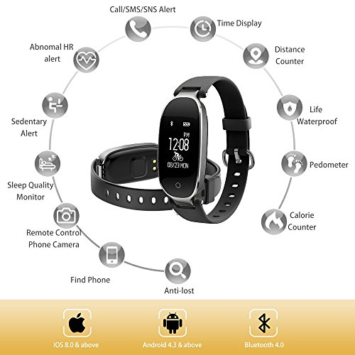 Fitness Tracker Women Sport Tracker Smart Watch Band Bracelet Heart Rate Monitor Smart BraceletWomen Swimming Waterproof Wristband Watch With Health Sleep Activity Tracker Pedometer For Smart Phone