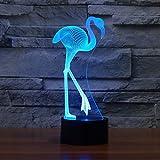 Ahat Romantische 3D Led Illusion Tisch Schreibtisch Deko Lampe 7 Farben ändern Nacht Licht für Schlafzimmer Home Decoration, Hochzeit, Geburtstag, Weihnachten und Valentine Geschenk(Flamingo)