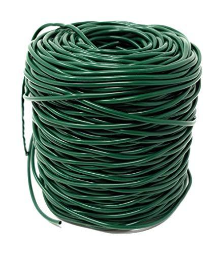GREEN24 100 Meter Profi Hohlschnur Ø 3mm aus Kunststoff, grün, im praktischen Netz - Elastisches Bindematerial, Bindeschlauch zum Anbinden von Pflanzen - Elastischen Kunststoff