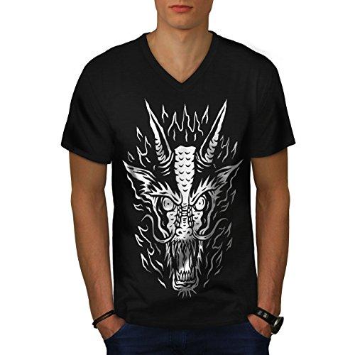Tier Drachen Kunst Horror Herren S V-Ausschnitt T-shirt | Wellcoda (Drache-kunst-dunklen T-shirt)