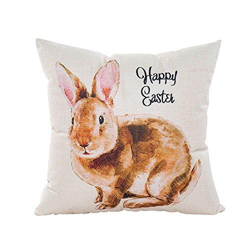 Hirolan Easter Pillow Cases Linen Sofa Cushion Cover Home Decor Pillow Case Pack Leinen Kissenbezug Kissenhüllen 40x40 cm Kissenhülle Hellgrau -