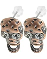 Lady Copper Tone Skull Shaped Pendant Piecred Screw Back Earrings Pair