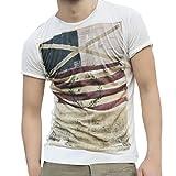 GreatestPAK T-Shirt Mode Persönlichkeit Männer Herren Casual Flag Schlank Kurzarm Top Bluse,M,Weiß