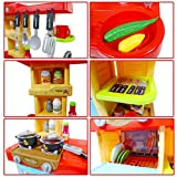 """deAO Kinder-Küchenspielset """"My Little Chef""""(""""Mein kleiner Koch"""") mit 30-teiligem Zubehör in den Farben Rot oder Pink erhältlich - 9"""