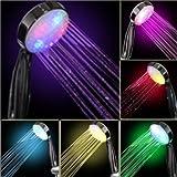 iParaAiluRy Bunte 7 Farben ändern automatisch leuchten LED-Duschkopf für Badezimmer Küche mit Dusche Düse 85mm Länge 220mm Stärke 44mm LD8008-A15 (C)