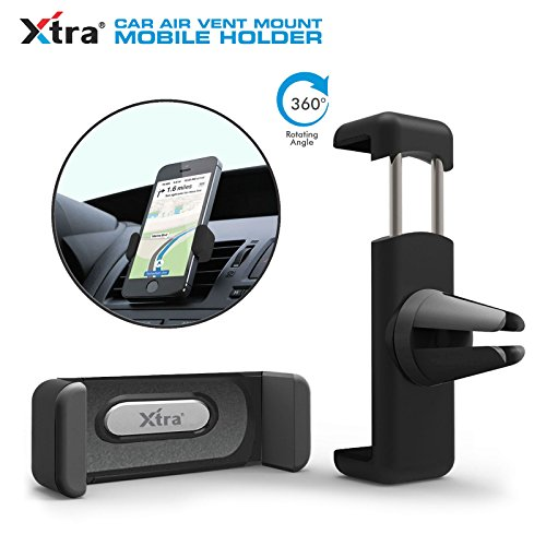 XTRA Phone Holder Air Vent 360 Degree Car Holder car mount cradle for iPhone, Samsung, LG, Nexus, Motorola, Sony, HTC, Google, Windows & Other Smartphones