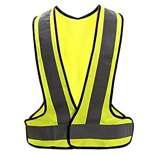 AYKRM high visibility waistcoat reflective safety vest (XL, Yellow)