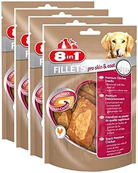 8in1 Fillets Pro Skin&Coat S -  Filets de poulet séchés Enrichis en huile de graine de lin pour Chien - Lot de 4 x 80g