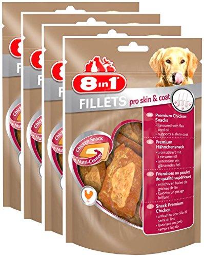 8in1 Fillets Pro Skin & Coat Hähnchensnack, funktionale Leckerlies für Hunde, 4er Pack (4 x 80 g) - Maul Weiches Hund