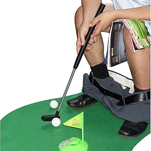 Unbekannt Home Decor Badezimmer Golf Spiel, Putter Putting Mat Golf Mini-WC Golf Spiel Spielzeug-Set (grün)