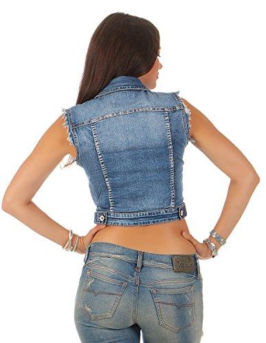 5809 Fashion4Young Damen Jeansweste bauchfrei Jeans Weste Stickerei Streetlook Flower-Power Blau