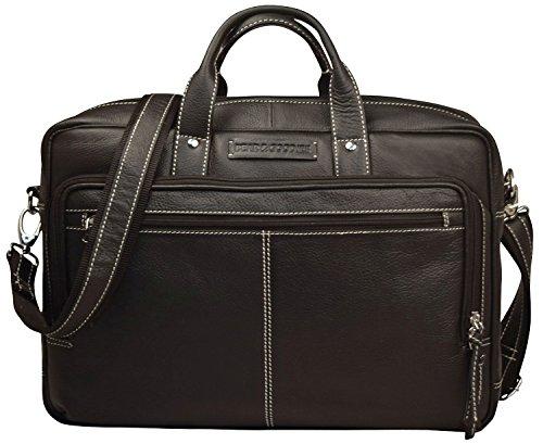 15.4 Laptop-tasche Schwarz (Bear & Goodies Cornwall, echtes Leder, Aktentasche Laptoptasche Business Tasche Umhängetasche für Laptop bis 15,4 Zoll (schwarz))
