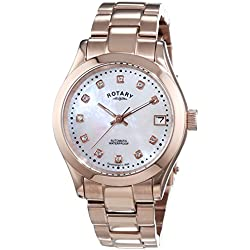 Rotary Women's Automotive Watch with White Dial Analogue Display and Rose Gold Stainless Steel Bracelet LB00157/41