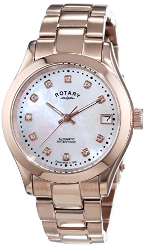 Rotary-Womens-Automotive-Watch-with-White-Dial-Analogue-Display-and-Rose-Gold-Stainless-Steel-Bracelet-LB0015741
