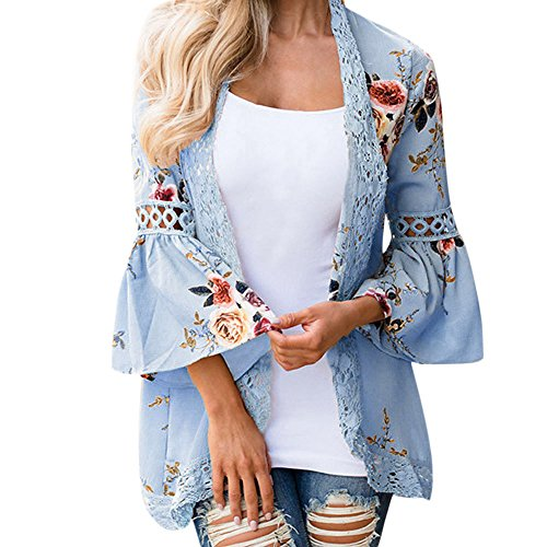 Tooth Damen Florale Kimono Cardigan Boho Chiffon Sommerkleid Beach Cover up Leicht Tuch für die Sommermonate am Strand oder See(Himmelblau,XXL) -