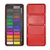 Aquarellfarben 24 Farben Aquarellset ink Pinsel Professionell Malset für Hobbymaler und Anfänger