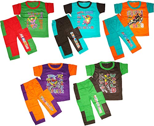 kids unisex boys girls nightwear tshirt pant combo in multicolor pack of 5 (2-3 Years)