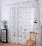 Yiyida 2pcs Druck Schmetterling Voile Tür Vorhang Fenster Paravent Schal Vorhang Gardine Deko Schal Fenster
