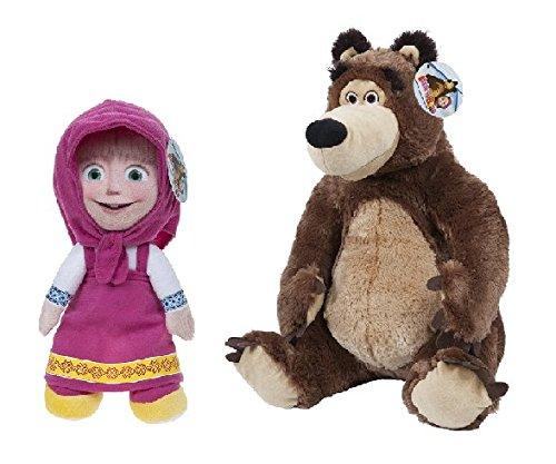 Masha e Orso (Masha and the Bear) - Pack 2 peluches Masha (seduta 20cm/in piedi 27cm) e Orso (seduto 22cm) - Qualità super soft