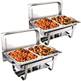 COSTWAY 2 x Chafing Dish Calentador de Alimentos Bandeja Calienta Pplatos Contenedor de Calor Acero Inoxidable con Tapas para Buffet Restaurante Comedor Fiesta