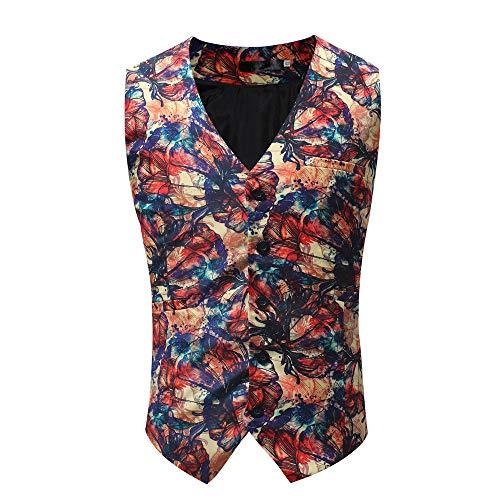 Goldatila Men's Waistcoats Men's Classic Paisley Floral Jacquard Waistcoat Necktie and Pocket Square Vest Suit -