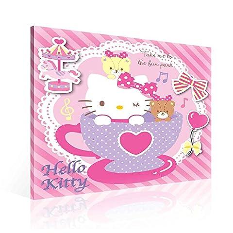 Hello Kitty Leinwand Bilder (PPD646O2FW) - Wallsticker Warehouse - Size O2 - 80cm x 80cm - 230g/m2 Canvas - 1 Piece