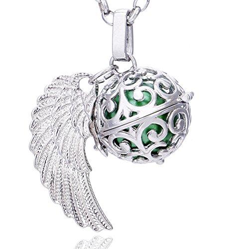 Morella Damen Schutzengel Halskette Edelstahl 70 cm mit Anhänger Engelsflügel und Klangkugel grün Ø 16 mm in Schmuckbeutel