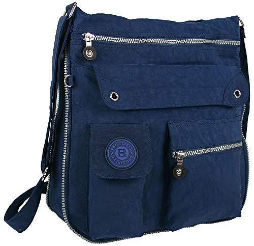 BagStreet 2221 Damen sportliche Handtasche Umhängetasche Schultertasche aus Nylon (Marineblau)