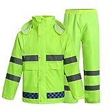 ZHFC- Kleidung ZHFC-BTR reflektierender Leuchtgurt oder Sicherheitsweste für hohe Sichtbarkeitreflektierende regenmantel, regen hose anzug, verkehrssicherheit, die abwasserentsorgung, fluoreszierende grün - gelben wasserdichte kleidung, warnung, split regenmantel, männer und frauen,l,vollständiger satz.