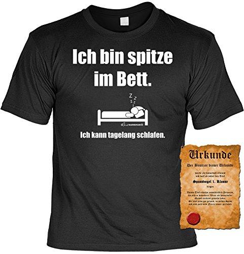 Anmach Sprüche Fun T-Shirt & Spassurkunde in schwarz Ich bin spitze im Bett Schwarz