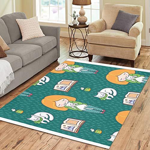 Kommerziellen Outdoor-kollektion (Blonde Mädchen Ingwer Katze große benutzerdefinierte rutschfeste moderne Bodenfläche Teppich Pad Matte orientalischen kommerziellen Teppich für Keller Schlafzimmer Wohnzimmer Wohnkultur 5'x7 'Indoor)