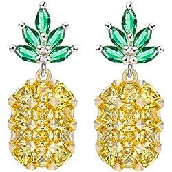 Pendientes Piña Fruta Forma Cristal Strass Piedras (Oro)